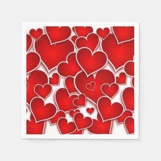 Servilletas Desechables Corazones de las tarjetas del día de San Valentín