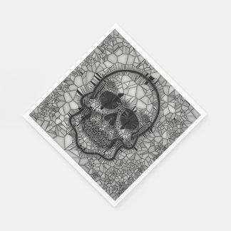 Servilletas Desechables Cráneo de cristal del mosaico, blanco negro
