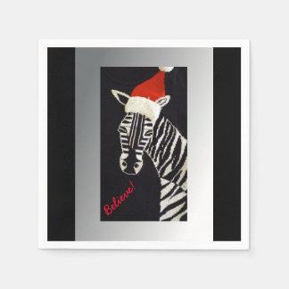 Servilletas Desechables ¡Crea! Cebra del navidad con el gorra rojo de