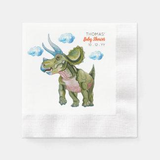 Servilletas Desechables Dinosaur in watercolor Baby Shower.