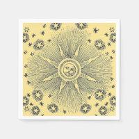 Drawi medieval celestial del sol del vintage y del