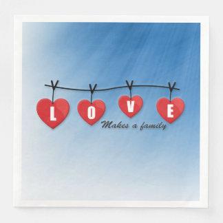 Servilletas Desechables El amor hace a una familia - corazones