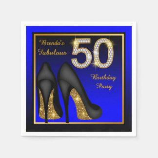 Servilletas Desechables El azul de la mujer y 50.a fiesta de cumpleaños