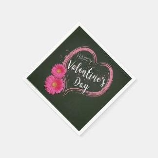 Servilletas Desechables El corazón rosado florece el el día de San
