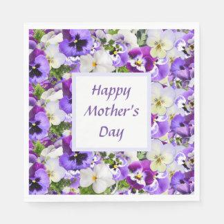 Servilletas Desechables El día de madre feliz floral púrpura de encargo