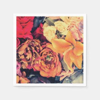 Servilletas Desechables El otoño del mosaico florece servilletas