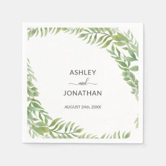 Servilletas Desechables El verdor botánico personalizado sale del boda