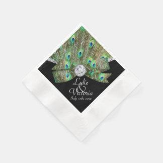 Servilletas Desechables Elegancia del pavo real y boda de diamantes