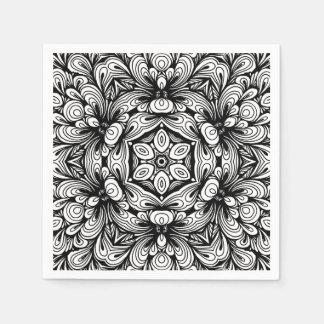 Servilletas Desechables Estampado de flores clásico complejo blanco y