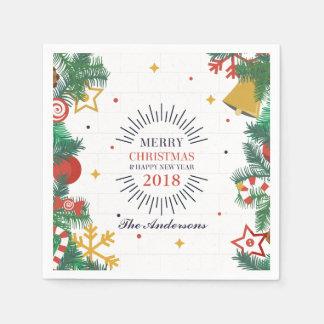 Servilletas Desechables Felices Navidad personalizadas y servilleta del