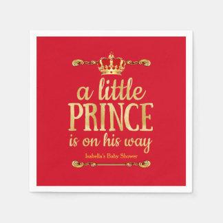 Servilletas Desechables Fiesta de bienvenida al bebé roja real de príncipe