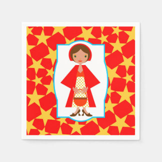 Servilletas Desechables Fiesta de cumpleaños roja del chica de la capa con