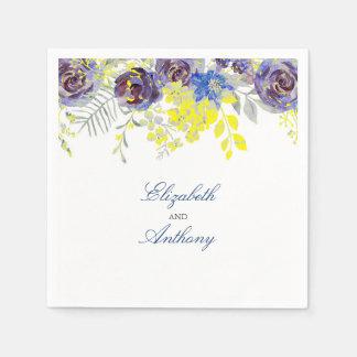 Servilletas Desechables Flores azules y amarillas de la acuarela