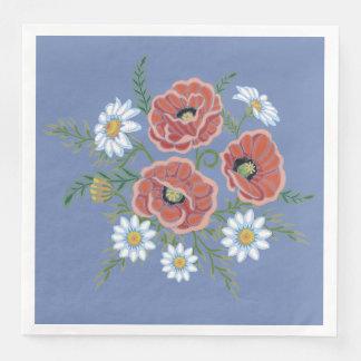Servilletas Desechables Flores de la margarita y de la amapola