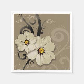 Servilletas Desechables Flourish floral adornado el   de color topo