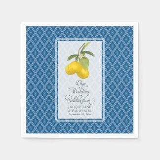 Servilletas Desechables Fruta cítrica blanca del limón de los azules