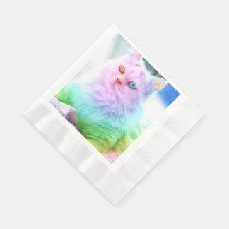 Servilletas Desechables Gato del arco iris del unicornio