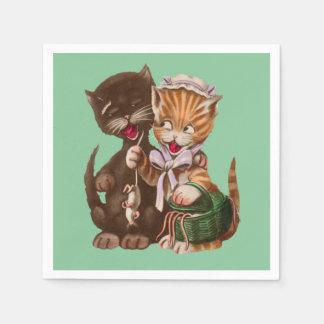 Servilletas Desechables Gatos hembra-varón felices lindos que comparten