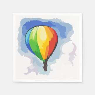 Servilletas Desechables Globo del aire caliente del arco iris