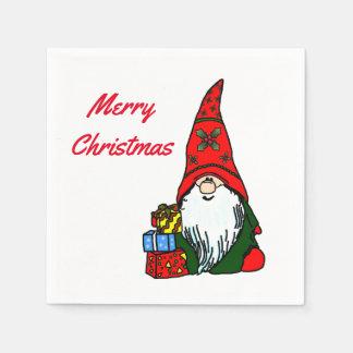 Servilletas Desechables Gnomo de las Felices Navidad con los presentes
