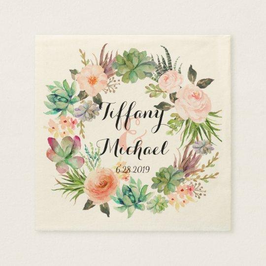 Servilletas Desechables Guirnalda floral Wedding-4 de la acuarela elegante
