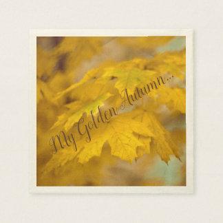Servilletas Desechables Hojas de arce amarillas del otoño. Añádale texto