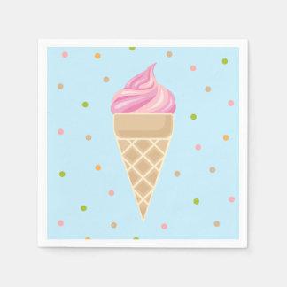 Servilletas Desechables Ilustracion rosado del helado del vintage