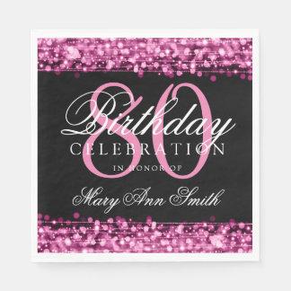 Servilletas Desechables La 80.a fiesta de cumpleaños elegante chispea rosa