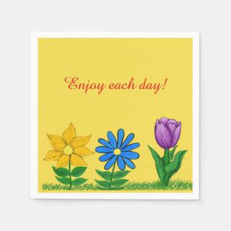 Servilletas Desechables La púrpura azul amarilla bonita florece