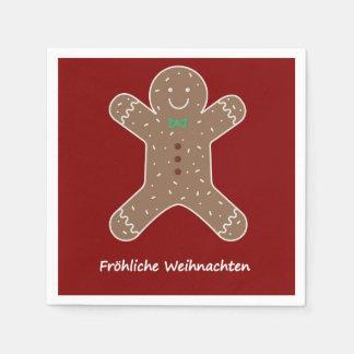 Servilletas Desechables Lebkuchenmann Fröhliche Weihnachten