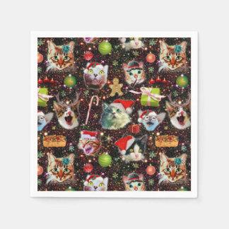 Servilletas Desechables Los gatos del navidad en galaxia del espacio