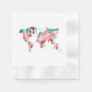 Servilletas Desechables mapa del mundo