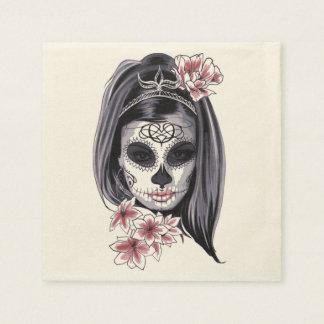 Servilletas Desechables Máscara del esqueleto de la mujer