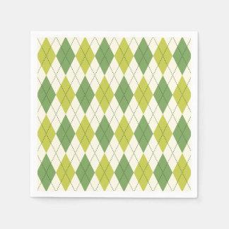 Servilletas Desechables Modelo geométrico verde retro de Argyle