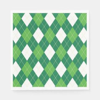 Servilletas Desechables Modelo, verde y blanco de Argyle