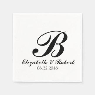 Servilletas Desechables Monograma blanco negro del boda