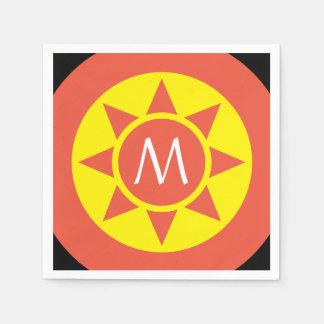 Servilletas Desechables Monograma rubricado brillo amarillo y anaranjado