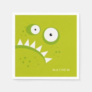 Servilletas Desechables Monstruo verde asustadizo divertido enojado gruñón
