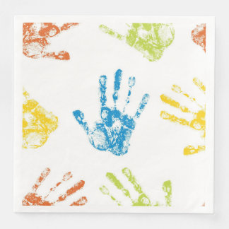 Servilletas Desechables Niños Handprints en pintura