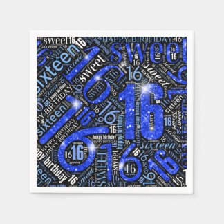 Servilletas Desechables Nube ID265 azul de la palabra de la chispa del