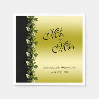 Servilletas Desechables Oro romántico floral elegante y boda negro