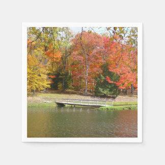 Servilletas Desechables Paisaje del otoño del puente III de la caída de