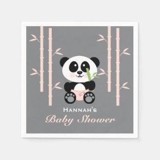 Servilletas Desechables Panda de bambú rosada en servilletas de la fiesta