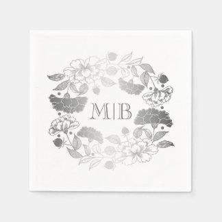 Servilletas Desechables Peonies de plata - boda floral del jardín de la