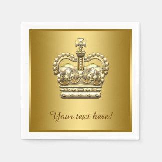 Servilletas Desechables Príncipe real rey Gold Crown