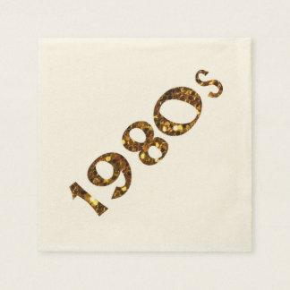 Servilletas Desechables purpurina del oro de la nostalgia de los años 80