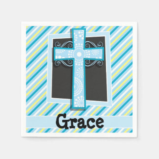 Servilletas Desechables Rayas azules de la cruz, azules y amarillas