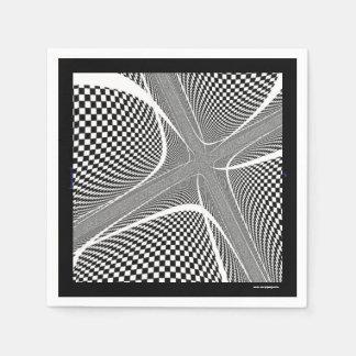 Servilletas Desechables Remolino a cuadros blanco y negro