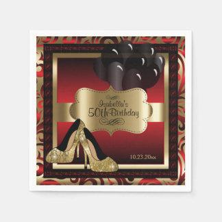 Servilletas Desechables Rojo y oro metálicos - 50.o texto del cumpleaños