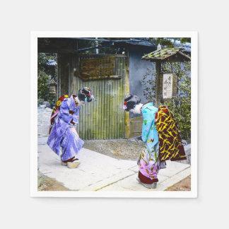 Servilletas Desechables Saludos del geisha en el vintage Japón viejo de la